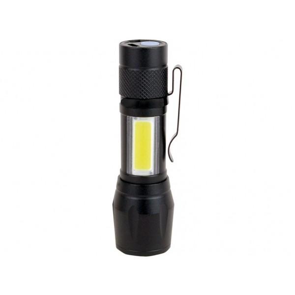 Mini lanterna LED COB 5W metalica cu acumulator si zoom