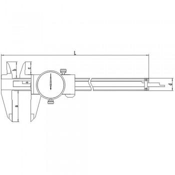 Subler cu cadran 1 mm pe rotatie domeniu 0-150mm citire 0.01mm